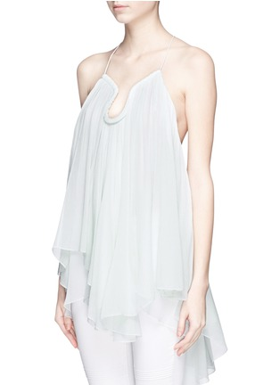 Front View - Click To Enlarge - Chloé - Drop collar silk crepon top