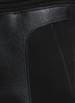 Leather stretch waistband bonded jersey pants