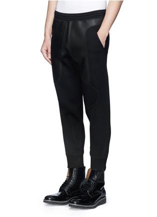 Neil Barrett-Leather stretch waistband bonded jersey pants