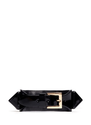 Back View - Click To Enlarge - Valentino - 'Rockstud' macro patent leather bracelet