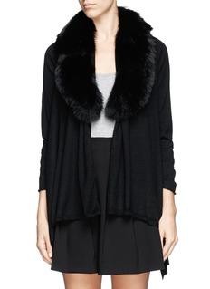 ALICE + OLIVIA'Izzy' fox fur collar open front cardigan