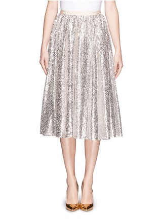 Main View - Click To Enlarge - alice + olivia - 'Justina' nude sequin flare skirt