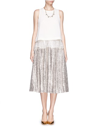 Figure View - Click To Enlarge - alice + olivia - 'Justina' nude sequin flare skirt