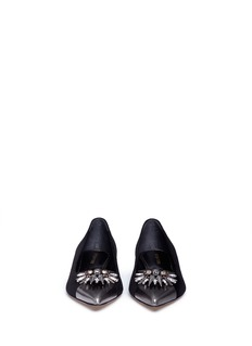SERGIO ROSSI Glam crystal and spike suede flats
