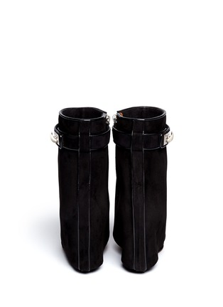 Back View - Click To Enlarge - Givenchy - Shark tooth turn lock suede wedge boots