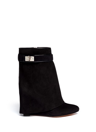Main View - Click To Enlarge - Givenchy - Shark tooth turn lock suede wedge boots