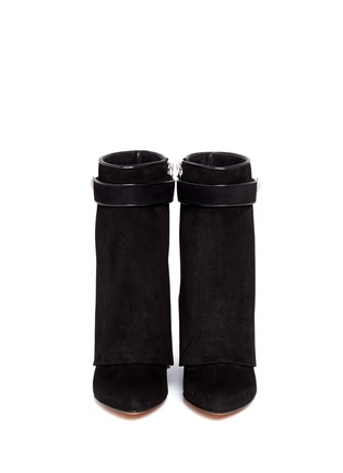 Figure View - Click To Enlarge - Givenchy - Shark tooth turn lock suede wedge boots