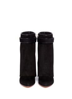 GIVENCHY Shark tooth turn lock suede wedge boots