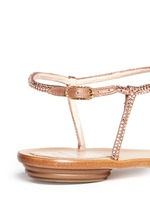 Crystal T-strap flat sandals