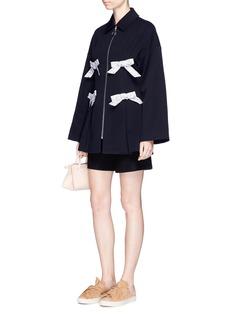 Shushu/TongFloral print bow twill coat