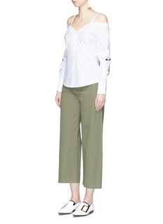 HELEN LEE Bunny and floral embroidered off-shoulder shirt