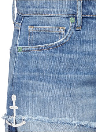 Detail View - Click To Enlarge - Sandrine Rose - Anchor embroidered frayed cuff denim shorts