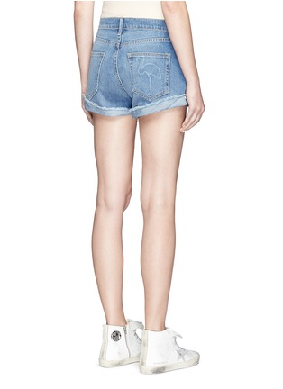 Back View - Click To Enlarge - Sandrine Rose - Anchor embroidered frayed cuff denim shorts