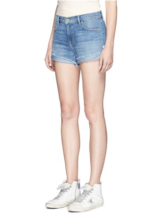 Front View - Click To Enlarge - Sandrine Rose - Anchor embroidered frayed cuff denim shorts