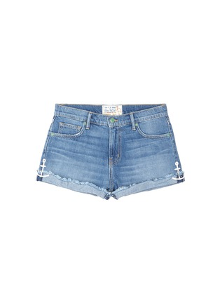 Main View - Click To Enlarge - Sandrine Rose - Anchor embroidered frayed cuff denim shorts