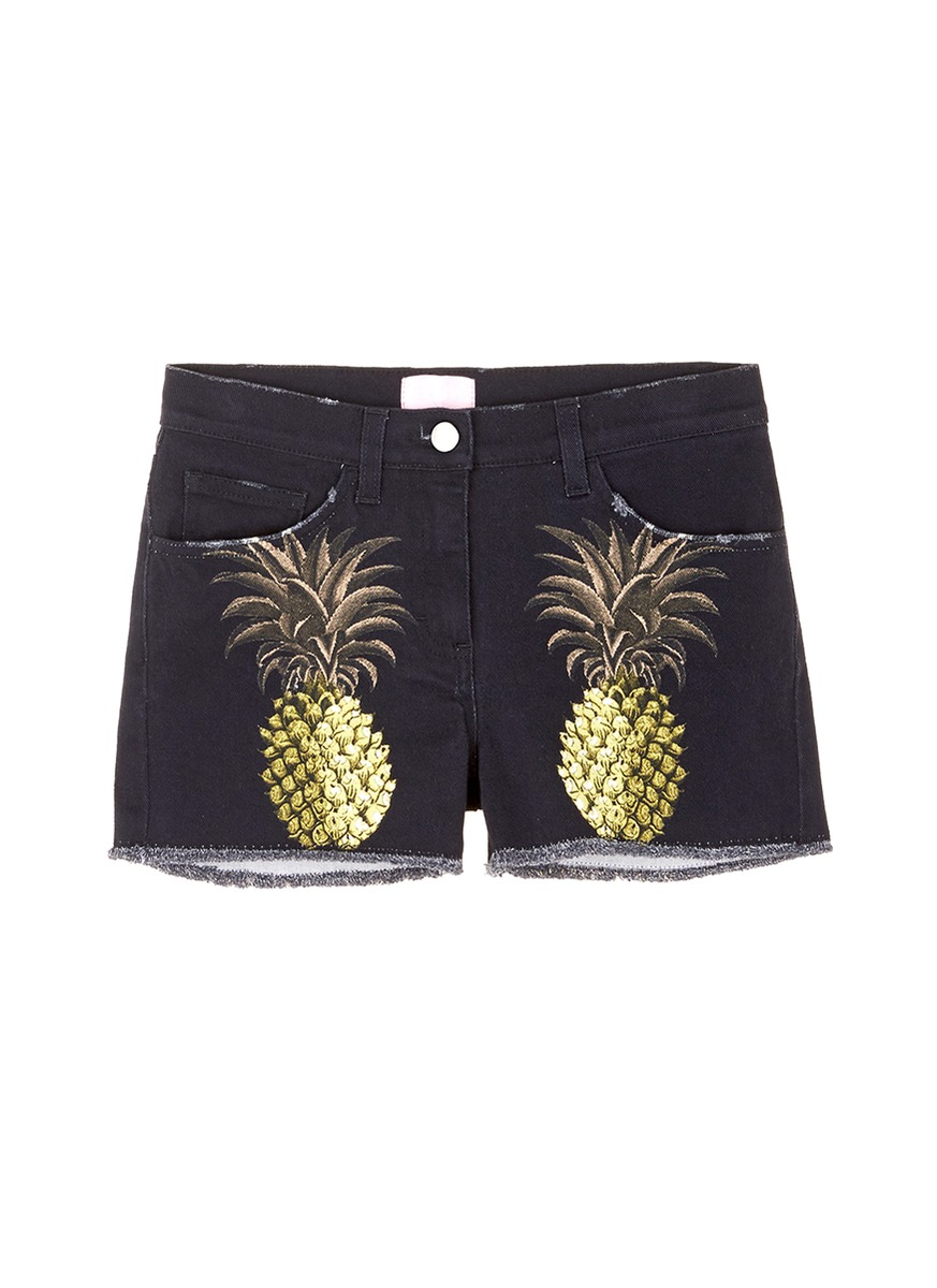 Pineapple print frayed denim shorts by Giamba