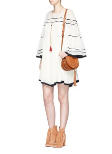 Chloé Bell sleeve stripe crépon dress