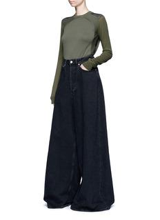 Acne StudiosSlim fit contrast sleeve cotton sweater