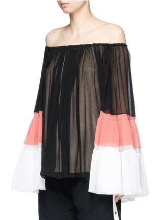 Front View - Click To Enlarge - Chloé - Colourblock bell sleeve off-shoulder crépon blouse