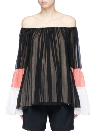 Main View - Click To Enlarge - Chloé - Colourblock bell sleeve off-shoulder crépon blouse