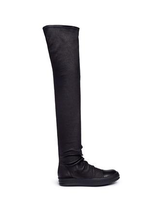 Rick Owens-Lambskin leather high sock sneakers