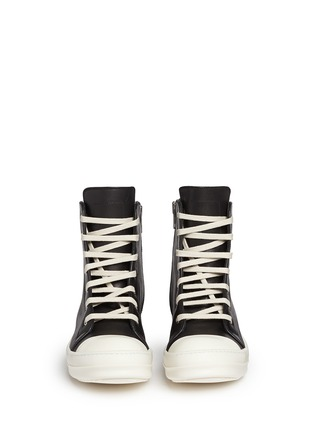 Front View - Click To Enlarge - Rick Owens - Side zip leather high top sneakers