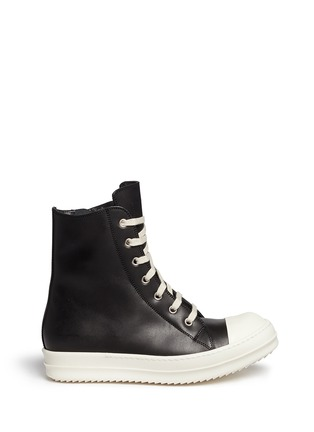 Main View - Click To Enlarge - Rick Owens - Side zip leather high top sneakers
