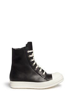 Rick Owens Side zip leather high top sneakers