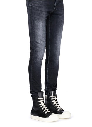 Figure View - Click To Enlarge - Rick Owens - Side zip leather high top sneakers