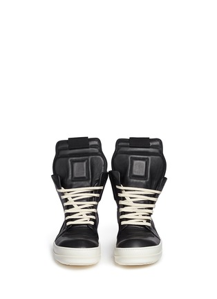 Front View - Click To Enlarge - Rick Owens - 'Geobasket' high top leather sneakers
