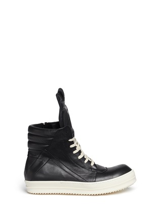 Main View - Click To Enlarge - Rick Owens - 'Geobasket' high top leather sneakers