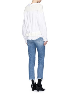 MuveilKnit shoulder drawstring waist shirt