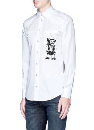 Front View - Click To Enlarge - Dolce & Gabbana - Slim fit Sicilian cowboy embroidery cotton shirt