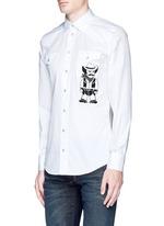 Slim fit Sicilian cowboy embroidery cotton shirt