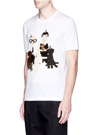 Front View - Click To Enlarge - Dolce & Gabbana - DG FAMILY patch T-shirt