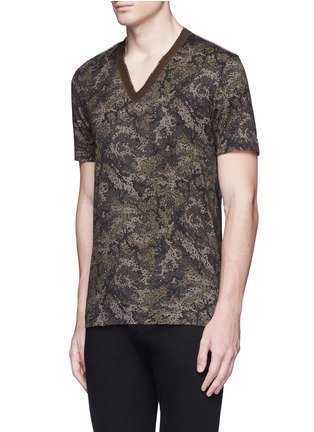Front View - Click To Enlarge - Dolce & Gabbana - Digital camouflage print V-neck T-shirt