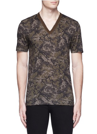 Main View - Click To Enlarge - Dolce & Gabbana - Digital camouflage print V-neck T-shirt