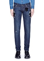 'Gold 10' slim fit cat embellished jeans