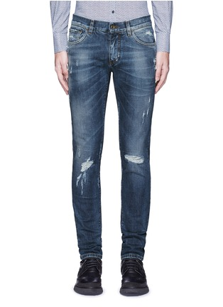 Detail View - Click To Enlarge - Dolce & Gabbana - 'Stretch 14' slim fit medium wash distressed jeans