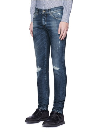 Front View - Click To Enlarge - Dolce & Gabbana - 'Stretch 14' slim fit medium wash distressed jeans