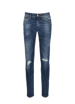 Main View - Click To Enlarge - Dolce & Gabbana - 'Stretch 14' slim fit medium wash distressed jeans