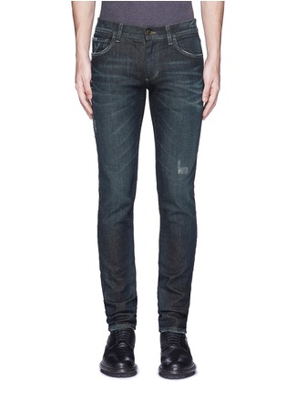 Detail View - Click To Enlarge - Dolce & Gabbana - 'Stretch 14' slim fit dark wash distressed jeans