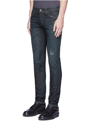 Front View - Click To Enlarge - Dolce & Gabbana - 'Stretch 14' slim fit dark wash distressed jeans