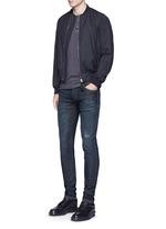 'Stretch 14' slim fit dark wash distressed jeans