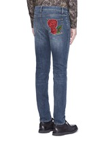 'Stretch 14' slim fit medium wash embroidered jeans