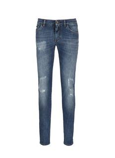 Dolce & Gabbana'Stretch 14' slim fit medium wash embroidered jeans
