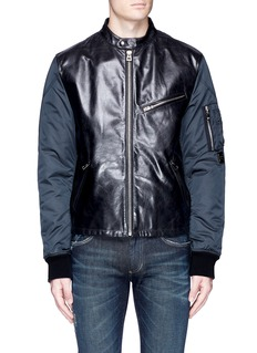 Dolce & GabbanaLeather front bomber jacket