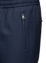 Slim fit drawstring wool-cotton pants