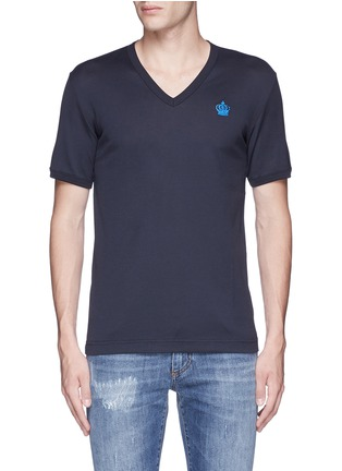 Dolce & Gabbana-Crown embroidery V-neck T-shirt