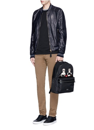 Figure View - Click To Enlarge - Dolce & Gabbana - Leather baseball jacket